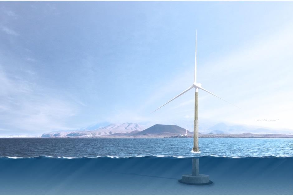 El primer aerogenerador marino en España